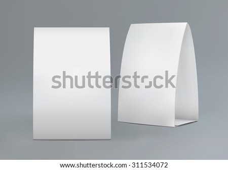 Isolated blank tent mockup on dark background. Paper tent  template for your design and branding. Vector EPS 10 illustration. - stock vector