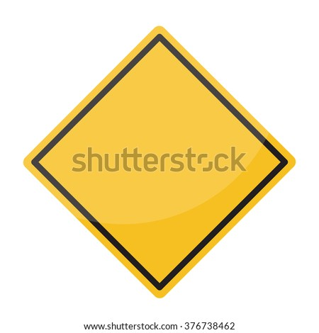 Isolated Blank Yellow Sign - Empty Yellow Symbol isolated on white background