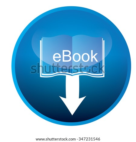 Isolated blue badge with an e-book icon on a white background - stock vector