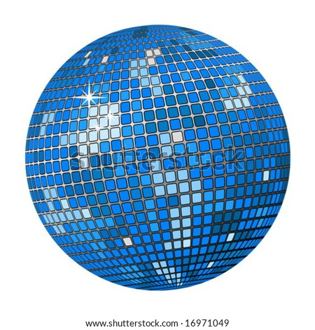 Isolated blue disco ball on a white background. Vector illustration