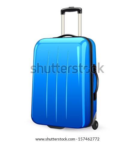 isolated blue suitcase with wheels, colorful - stock vector