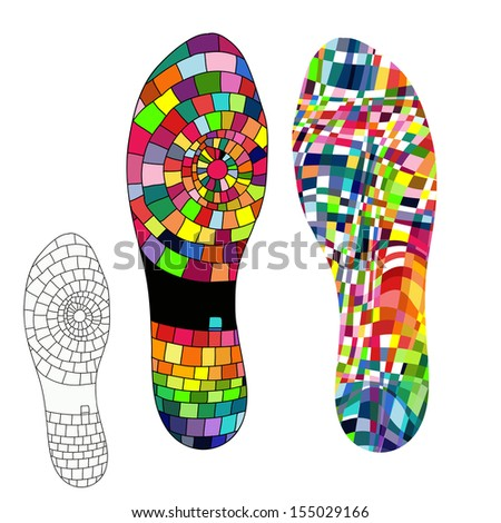 Isolated BootPrint - Highly detailed vector of a boot- colorful elements