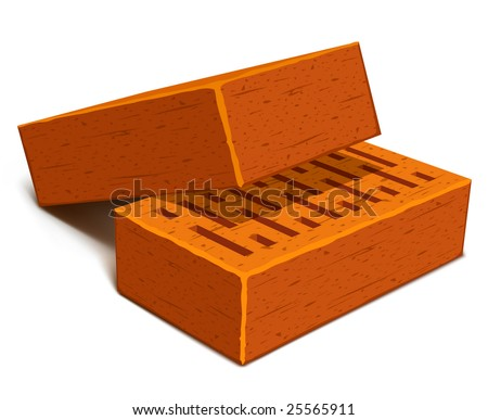 isolated bricks for house construction - vector illustration - stock vector