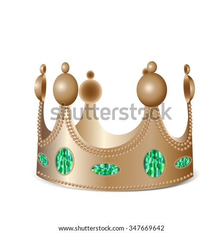 Isolated bronze crown with gems in photo realistic style - Vector illustration