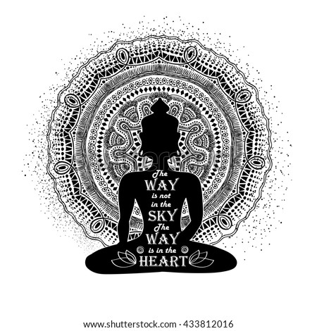 Isolated Buddha silhouette sitting in lotus pose of yoga and mandala design on a white background.
