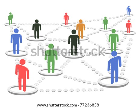 isolated business Network concept on white background - stock vector
