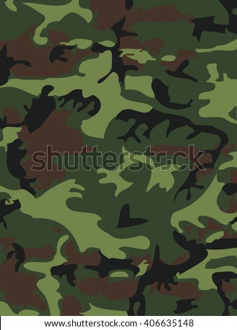 Isolated Camouflage Clothing Wallpaper Print Green Monochrome Brown Masking Leaf Vector Curve Soldier Marines Blotch Military
