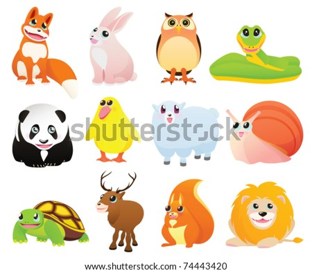 Isolated Cartoon animals with happy smiles. Vector illustration on white background - stock vector