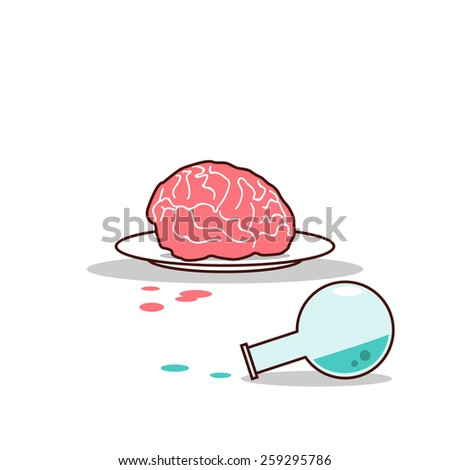 Isolated cartoon brain on plate and blue chemical - stock vector