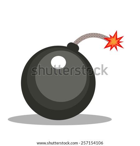 Isolated cartoon cannonball bomb - stock vector