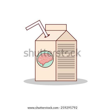 Isolated cartoon drink brain juice on a box - stock vector