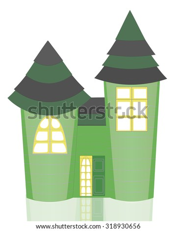 Isolated Cartoon Green Castle with Two Towers, Striped Roof and Reflection - stock vector