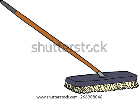 isolated cartoon push broom over white background - Push Broom