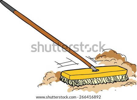 Isolated cartoon push broom sweeping away dust - stock vector