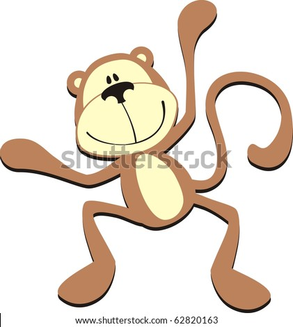 isolated cartoon smiling monkey, individual objects very easy to edit in vector format - stock vector