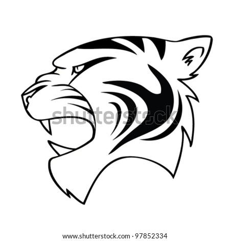 isolated cartoon tiger head - vector illustration - stock vector
