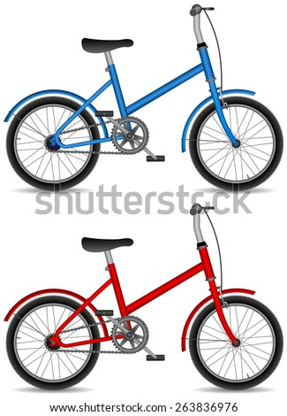 isolated children bicycle, boy blue and girl red bike, vector illustration