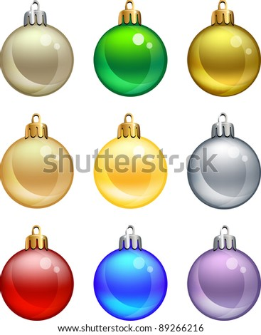 Isolated christmas balls set. Vector illustration. eps10 - stock vector