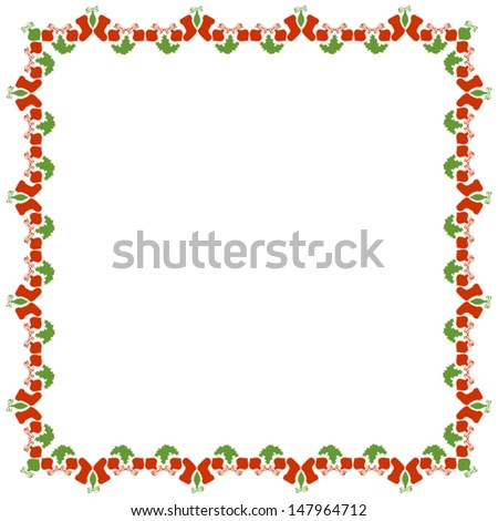 Isolated Christmas Frame on White Background, Vector Version