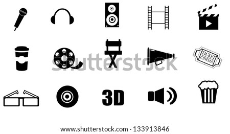 Isolated, cinema icon set on white background vector. - stock vector