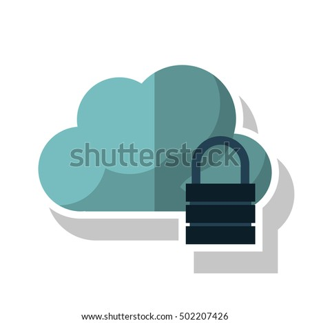 Isolated cloud with padlock design