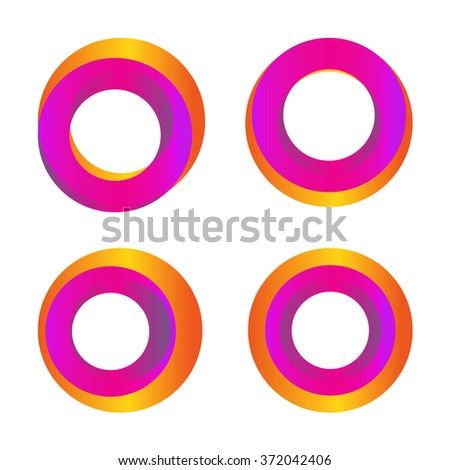 Isolated colorful abstract vector logo. Round shapes.Loading signs. Simple flat symbols. Planets images.Spinning circles.Hurricane,tornado graphic illustrations.Twist vector logo. Circles logo. Circle - stock vector