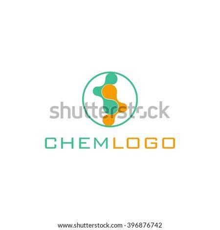 Isolated colorful chemical cells logo. Genetic engineering logo. Nanotechnology logo. Medical logo. Pharmaceutical logo. Drugs logo. Pills logo. Biology logo. Molecular structure model logo.Stem cells - stock vector