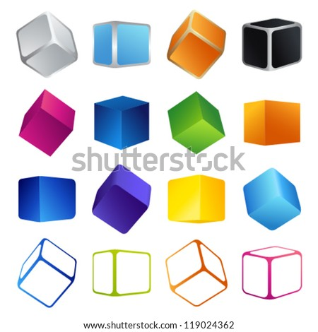 Isolated colorful 3d shape cubes. Vector illustrations on white background - stock vector