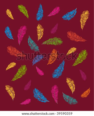 isolated colorful feathers on red - stock vector