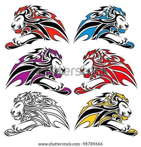 Isolated colorful lion symbols - vector - stock vector