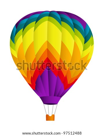 Isolated colorful (rainbow) Hot air balloon. Vector illustration on white background - stock vector