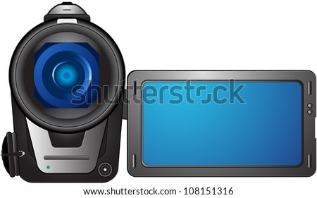 isolated compact video camera with open screen and space for text - stock vector