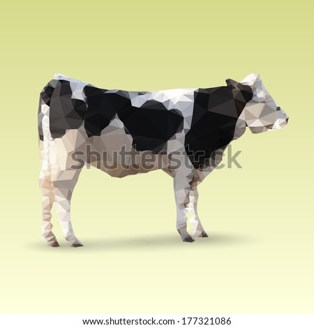 Isolated Cow made with triangles. Vector polygonal illustration