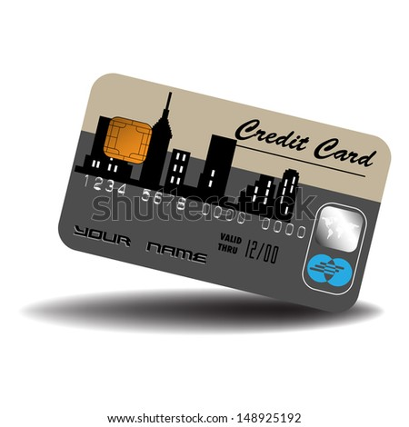Isolated credit card with urban design. Banking theme