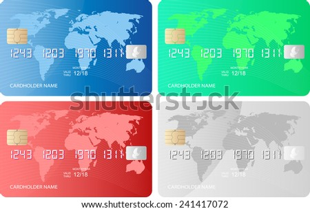 isolated credit cards - stock vector