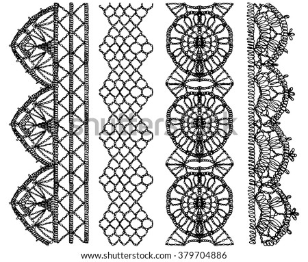 Isolated crocheted lace border with an openwork pattern.  Set of isolated knitted lace borders. Vector illustration