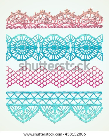 Isolated crocheted lace border with an openwork pattern. Stitch pattern for clothing. - stock vector