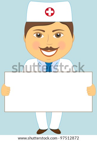 isolated cute doctor with poster on blue background - stock vector