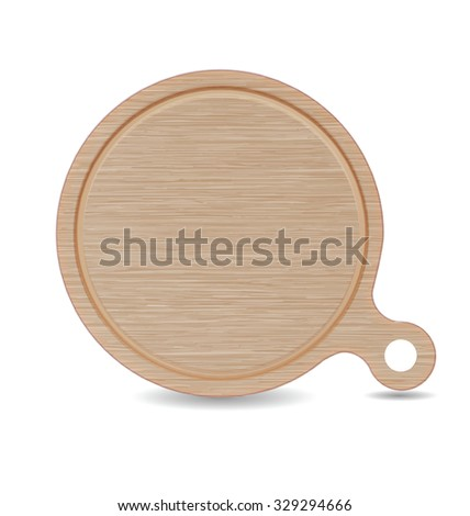 Isolated Cutting board, White Oak Wood Pizza Tray with Handle - stock vector
