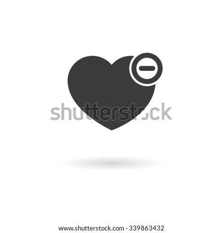Isolated dark grey icon for heart with minus - remove from favorites on white background with shadow - stock vector