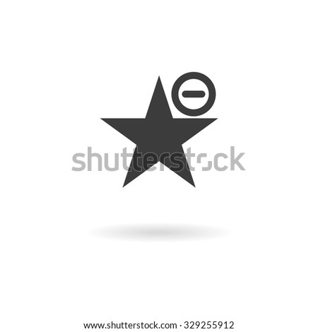 Isolated dark grey icon for remove from favorites (bookmark, etc.) on white background with shadow - stock vector