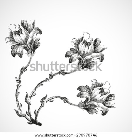 Isolated decoration print floral white petal flower leaf vector botanical summer graphic blossom element drawing black touch corner elegant creative illustration three detailed stem artwork retro