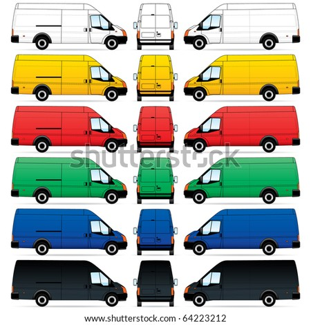 Isolated Delivery Vans on white background. Vector illustration