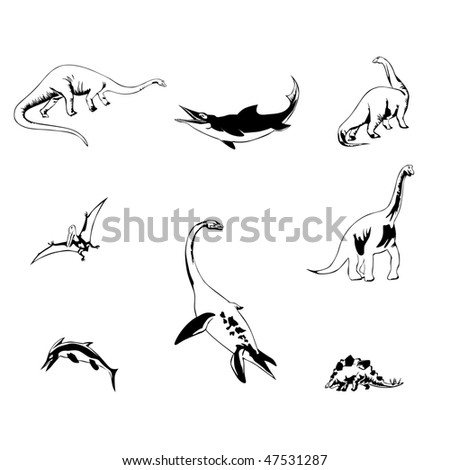 isolated dinosaurs vector illustration