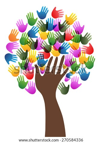 Isolated diversity hands tree background - stock vector