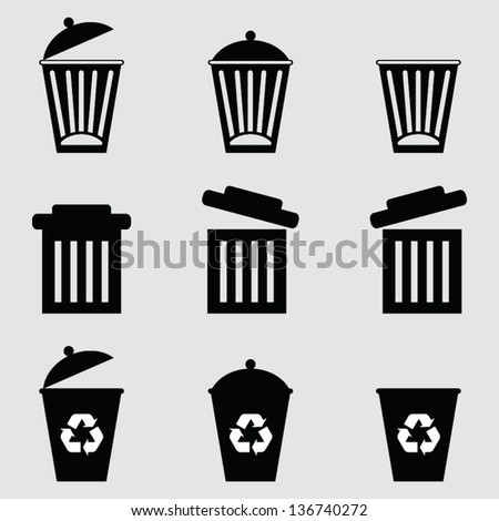 Isolated dust bin icon on Gray background vector. - stock vector