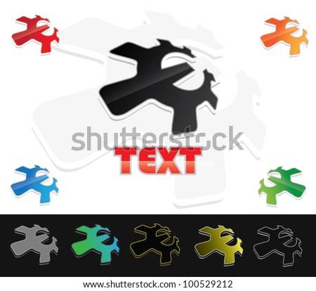 Isolated E letter like gear - vector illustration - stock vector