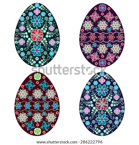 isolated Easter egg, vector, multicolor,holiday, set - stock vector