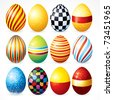 Isolated Easter eggs, Happy Easter day vector clip art for your design project - stock photo