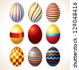 Isolated Easter Eggs Set. Vector Clip Art - stock photo